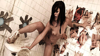 Brunette With Dark Hair Sucking & Fucking Dicks Out Of Wall