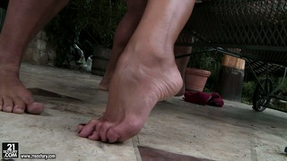 More foot work and fucking, then back to a sexy footjob by the pool