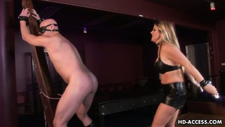 Mistress nicholette flogs her slave and then gives him a brutal blowjob