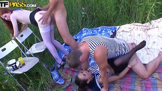 Adeline, Joana And Molly Arrange A Very Nice Role Play Marine Party On A Picnic And It Turns To Rough Gangbang