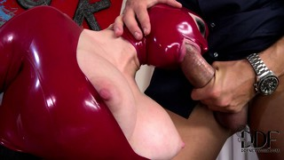The new latex ladies are eager to please the boss and his boner