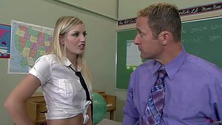Kylee reese is just a slutty college girl who shows her talents to her teacher. bad girl in uniform gets down on her knees and takes beefy dick in her mouth. she enjoys teacher's sausage in her hot mouth.