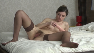 Hairy Mom Pussy Cums On A Dildo
