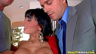 Alison star is a lady boss who can t choose between two guys. dark haired business woman with big cock gives their cocks a try. they do their best to satisfy this woman to get the job.