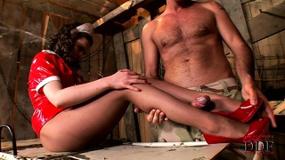 Nurse gets down with her doctor and uses her feet on his dick