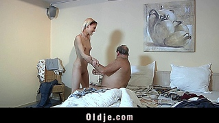 Skinny Teen Maid Fucks Hairy Old Fart