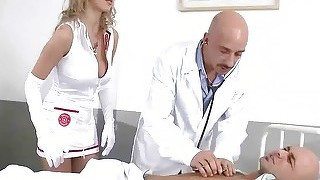 Pretty nurse getting double fucked