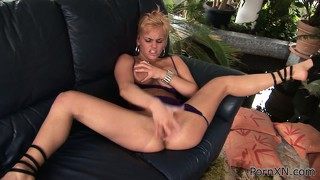 Britney fingers her twat, blows his rod and takes it in her cunt