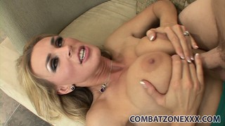 Slutty blonde milf tanya treats his young meat to a titjob and fuck