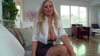 Arousing experienced long haired mature cougar julia ann with enormously big stunning knockers and pretty face seduces young pool boy and takes on his cock while films her in point of view