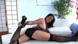 Sensational Brunette Babe Moans In Soft Tones As Her Tight Gaping Cunt Is Banged Hard