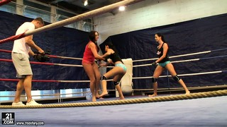 Behind the cameras look at a hardcore female fighting porno shoot