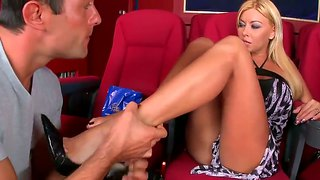 Cute Nikky Blond Gives Footjob After Cunnilingus