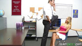 Blonde Student Being Very Naughty With Her Teacher