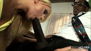 Attractive slender blonde with cute tits and a hot ass can't resist a big black cock