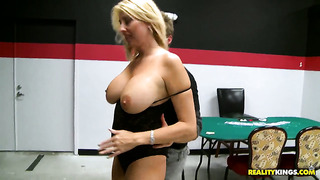 Blonde with juicy melons and hairless muff gets her hands fucked with no mercy