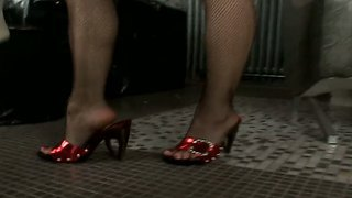 Fishnets And Red Shoes And This Babe\S Pussy Is Already Being Licked