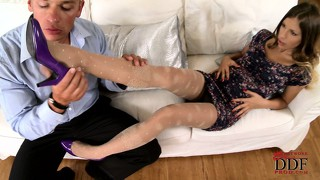 Avril gets home from work and her boyfriend teases her little feet