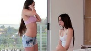 Webyoung step-sisters threesome catfight over lesbian teen