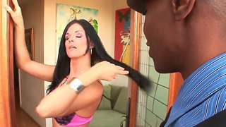 Brunette India Summer Lets Hunk Sean Michaels To Stick His Long Black Cock Deep In Her Pussy