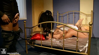 Hot cougar gets fucked like a piece of meat by her kinky master