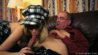 Young chick will never disappoint the old prick with big balls
