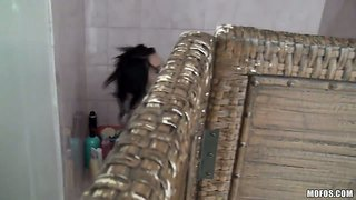 Callie cyprus spied on while taking a shower