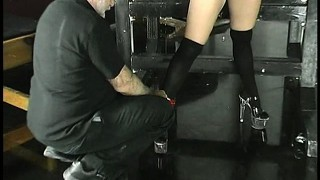 Slave joleen is quite happy to be tied up by her master and tortured