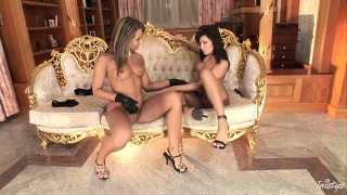 Impressive scene of lesbian love between blond coquette and dark-haired mistress
