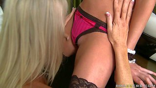 Emma starr and brynn tyler have a great idea to celebrate the next wedding anniversary together. hot wife and sexy maid lick each others pussies before getting banged by turned on guy.