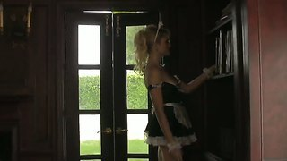 Dirty Blonde Maid Angelina Armani In Her Provocative Uniform Plays With Her Wet Nookie On The Chair