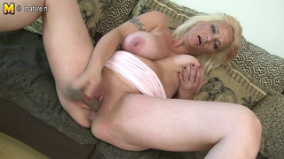 Big Breasted Euro Mom Masturbates