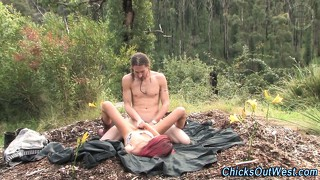 Real couple sucking and fucking outdoors