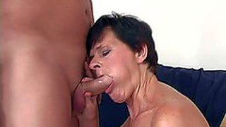 Short haired old brunette whore with hanging tits in stockings only gives lusty blowjob to turned on handsome stud and rides on his stiff pecker like there is no tomorrow
