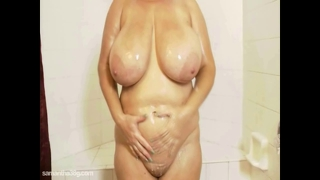 Sexy Samantha 38G Suds Up Her Huge Tits And Pussy