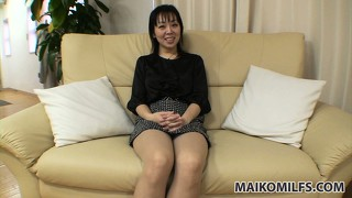 Horny asian milf with a cute smile and sexy legs has desires that require attention