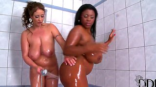 Huge Interracial Tits Rub Together While Showering