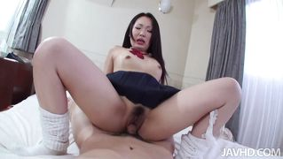 Filling her young and hairy pussy