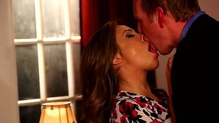 Kristina Rose Greatly Kissing And Getting Hotly Excited With Mark Wood, He Strokes Her Over The Dress And Jeans, Pushes Down On The Bed And Fucks Hard