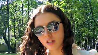 Curly brunette tourist girl seduced to screw