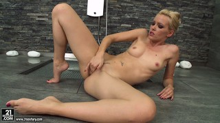 Skinny blonde bitch decides to shower and finger the wet kitty