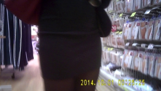 Nice Shiny Black Pantyhose Girl In Mini Skirt