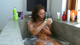 Maria Enjoys Warm And Bubly Water Dripping Over Her Tits