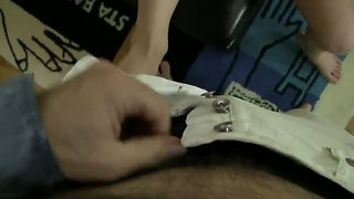 Nasty chick is preparing her husband's dick for her pussy