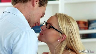 Cute bespectacled blonde vanessa cage is his new assistant. she is very attractive and doesn't mind taking his beefy cock in her mouth. cutie sucks his cock before he drills her vagina from behind.