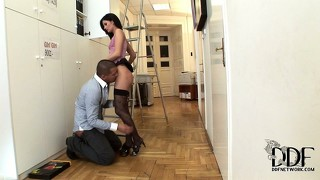 Euro babe gets a big cock soaked with her spit and makes it pop