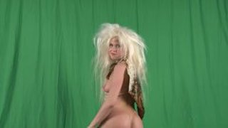 Cavewoman Strips And Teases Her Prehistoric Body
