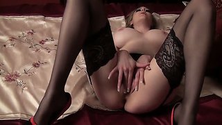 Bewitching Sapphire Blue In Super Hot'n'sexy Stocking And High Heels Caressing Her Pussy