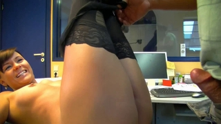 Hot German Secretary In Black Stockings Creampie Fuck
