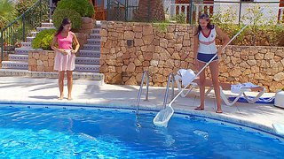 Brunette babes lily and mia, are hot lesbian girls and this time they have a role play game going on,a mistress and the pool cleaner,in hot outdoor session by the pool